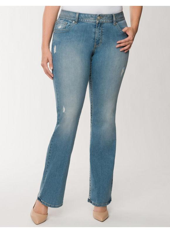 Lane Bryant Plus Size Genius Fit destructed bootcut jean - - Women's Size 26, Light Wash