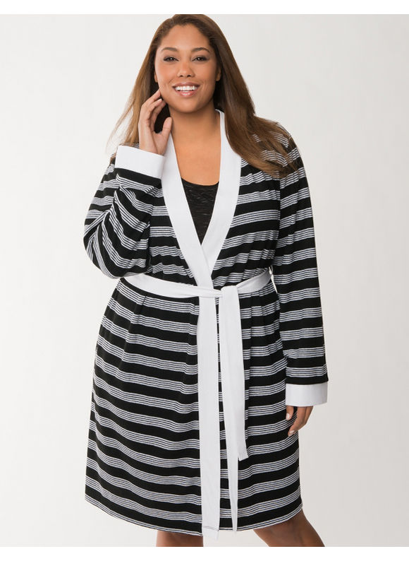 Lane Bryant Plus Size Striped terry robe - Stripes