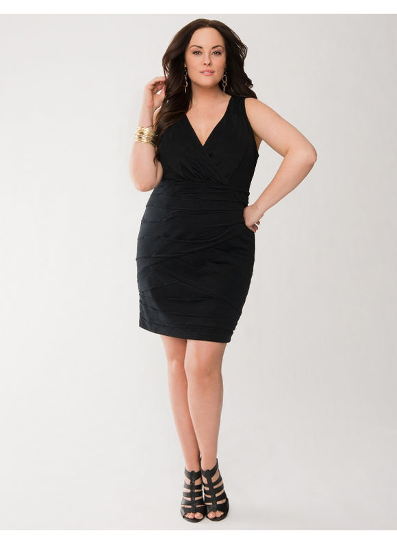Lane Bryant Plus Size Ruched dress -  Black