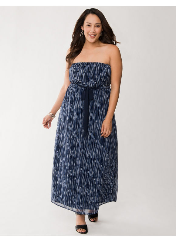 Lane Bryant Plus Size Tie waist chiffon maxi dress - Dark water