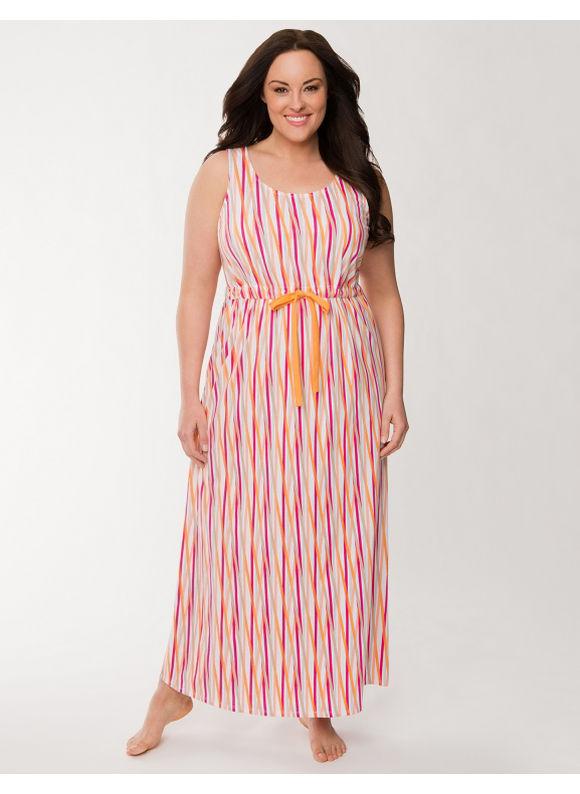 Lane Bryant Plus Size Crossed stripe sleep maxi Size 14/16,18/20, multicolor