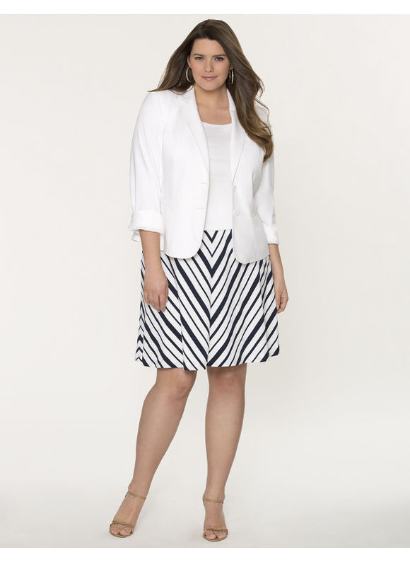 Lane Bryant Plus Size d charmeuse flippy skirt - Stripe