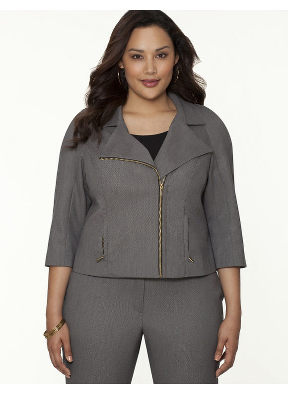 Lane Bryant Plus Size Bird-eye moto jacket Size 18, gray