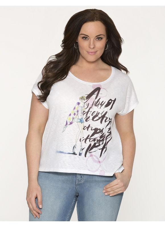Lane Bryant Plus Size Fashion girl tee, white