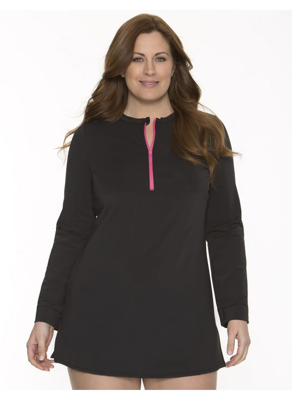 Lane Bryant Plus Size Rash guard cover-up - Black