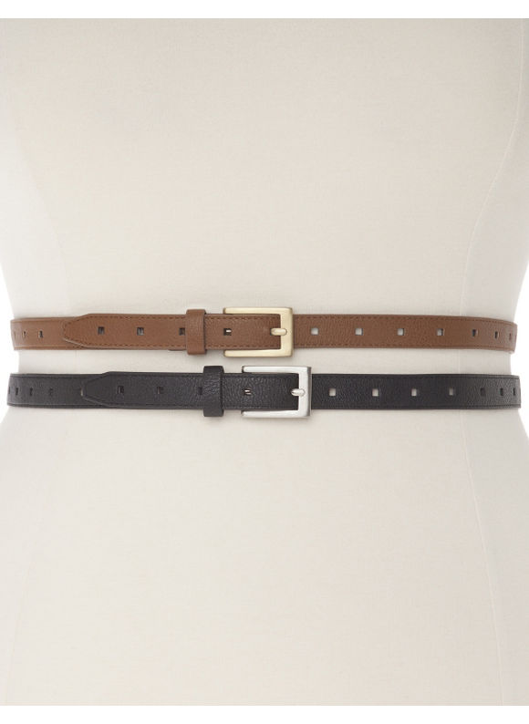 Lane Bryant Plus Size Snake skinny belt duo, brown black
