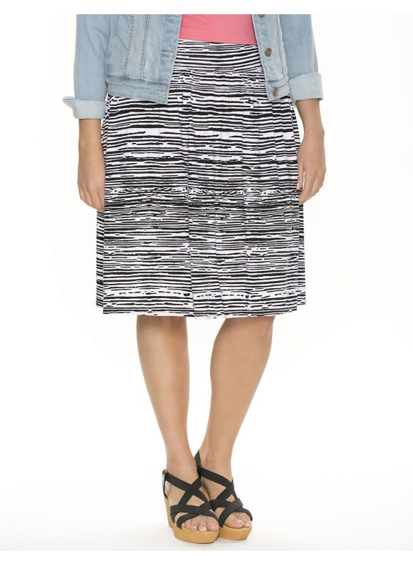 Lane Bryant Plus Size Zebra short knit skirt - Black