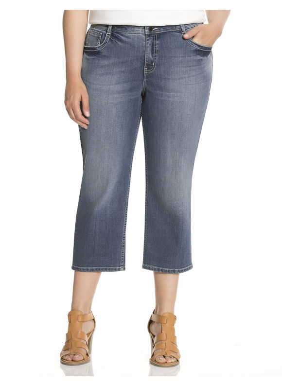 Lane Bryant Plus Size Fashion capri with Tighter Tummy Technology - Medium Wash
