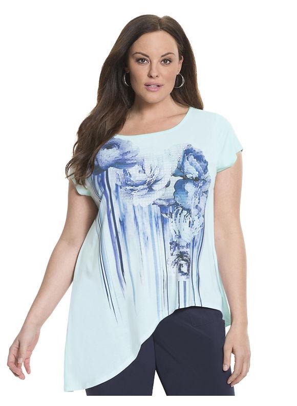 Lane Bryant Plus Size 6th & Lane asymmetric graphic tee Size 12,14/16, blue - Lane Bryant ~ Trendy Plus Size Clothes