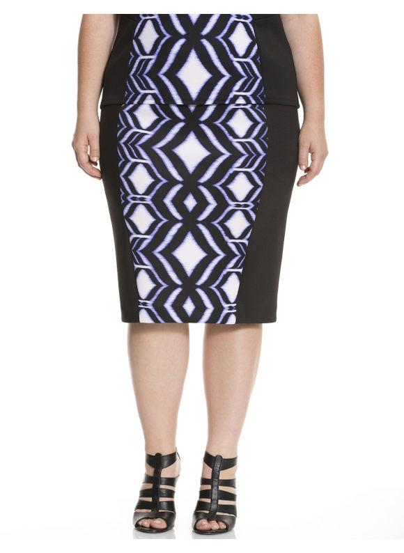 Lane Bryant Plus Size Ikat scuba pencil skirt - Black