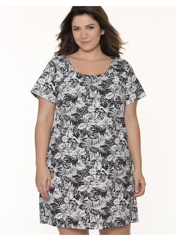 Lane Bryant Plus Size Palm print sleep shirt - Palm Print