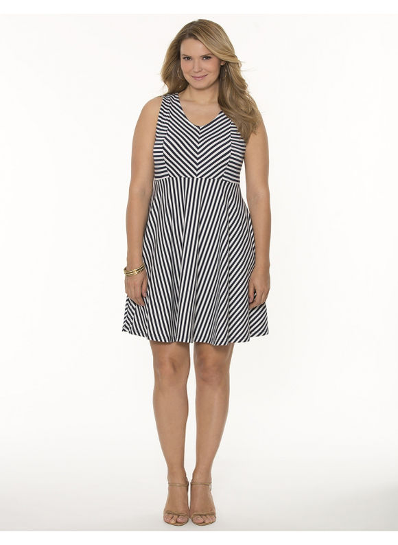 Lane Bryant Plus Size Striped skater dress Womens Size 20 e2e8ccd76