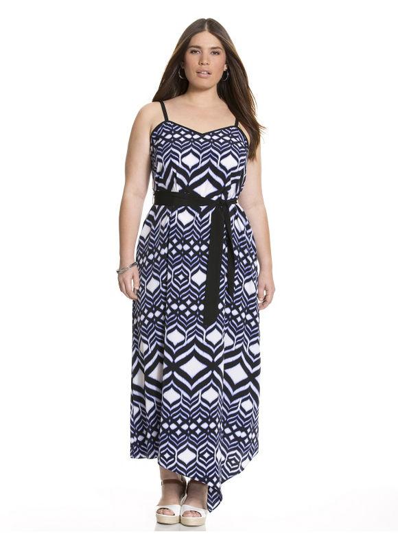 Plus Size Printed maxi dress - Navy blue dresses & skirts by Lane Bryant