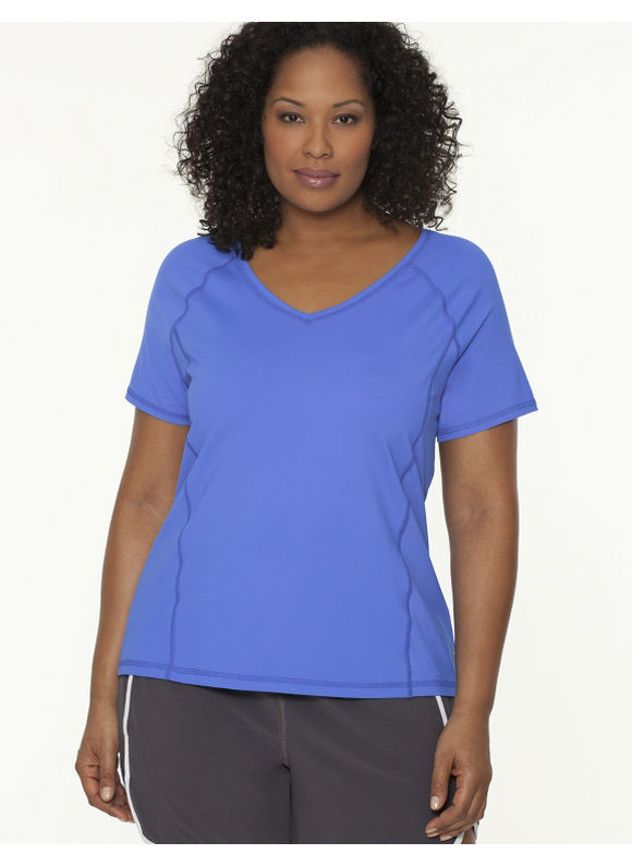 Lane Bryant Plus Size COOL4YOU V-neck tee - - Women's Size 14/16,18/20,22/24,26/28, Black, Blueberry, Sugar Plum