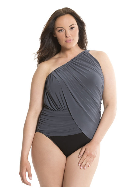 Lane Bryant Plus Size Draped one shoulder one-piece by Miraclesuit® Size 20, black - Lane Bryant ~ Trendy Plus Size Clothes