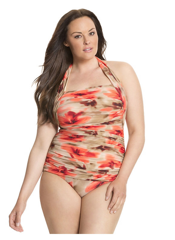 Lane Bryant Plus Size Printed halter one-piece by Miraclesuit® Size 16, floral print - Lane Bryant ~ Trendy Plus Size Clothes