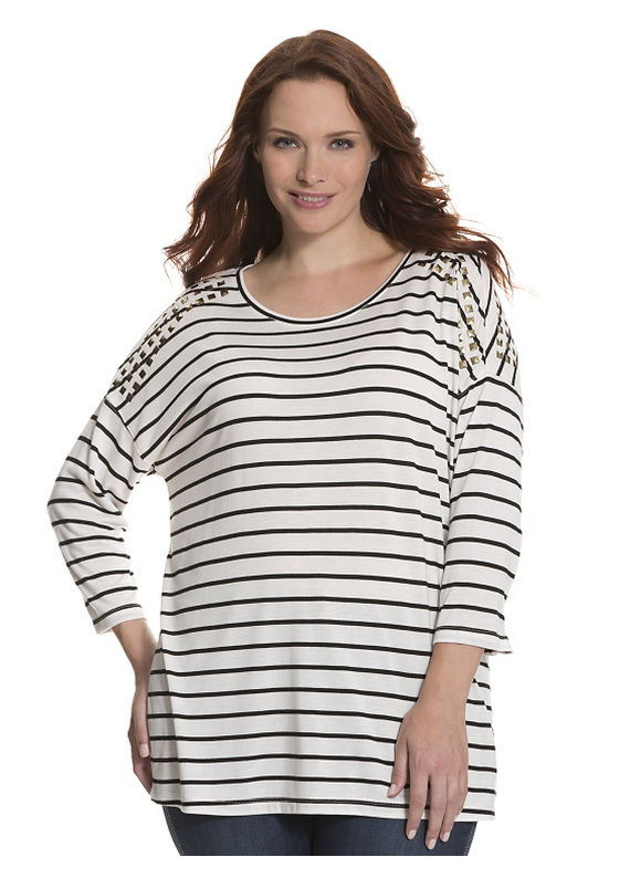 Lane Bryant Plus Size Studded striped tee by Seven7 Size 14/16, white