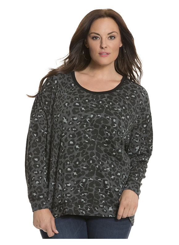 Lane Bryant Plus Size Mesh back leopard top by Seven7 Size 14/16, black - Lane Bryant ~ Trendy Plus Size Clothes