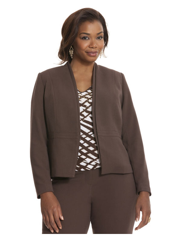 Lane Bryant Plus Size Oxford weave kissing jacket Size 24, brown
