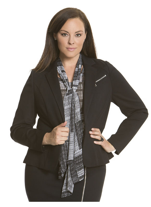 Lane Bryant Plus Size 6th & Lane zipped ponte blazer - Black