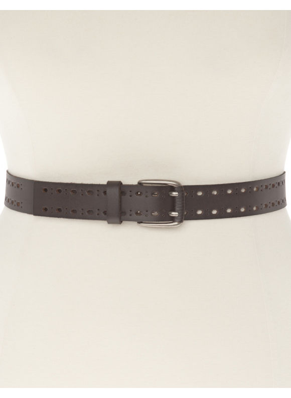 Lane Bryant Plus Size Double prong leather belt, brown black