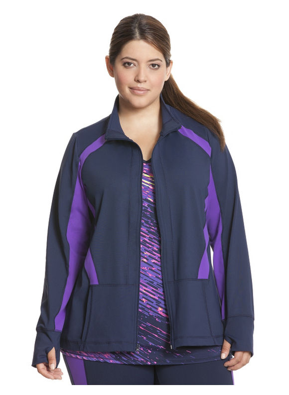 TruDry colorblock active jacket Plus Size/Dark Water tops by Lane Bryant