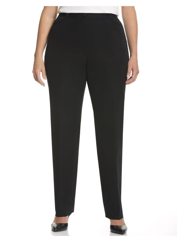 Lane Bryant Plus Size Ashley Cotton Smart Stretch Straight Leg Pant Size 14, black - Lane Bryant ~ Trendy Plus Size Clothes