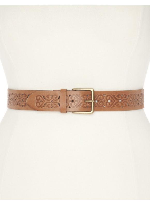 Lane Bryant Plus Size Pattern embossed leather belt - Tannin