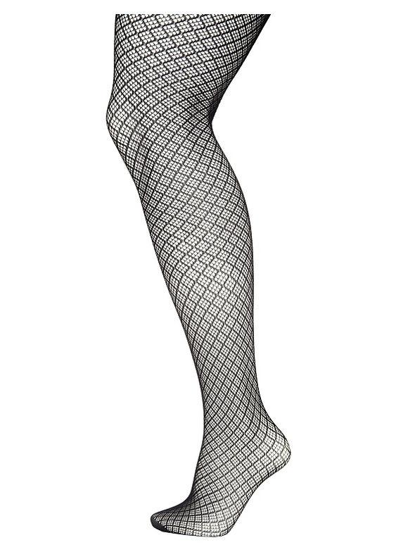 Lane Bryant Wide Calf Diamond mesh tights Size C-D, black
