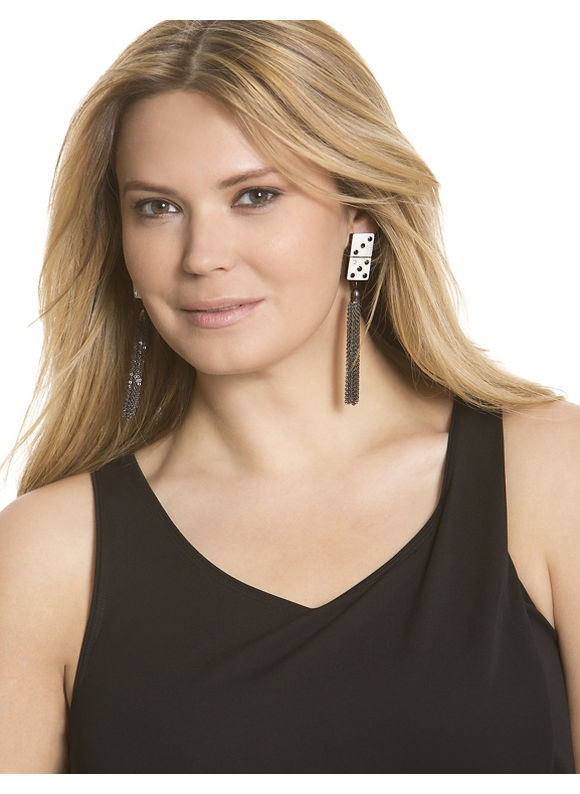 Women's Domino tassel earrings by Isabel Toledo shoes & accessories by Lane Bryant