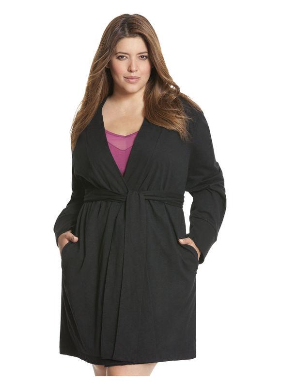 Plus Size Cotton short robe - Black Sleep & Lounge by Lane Bryant