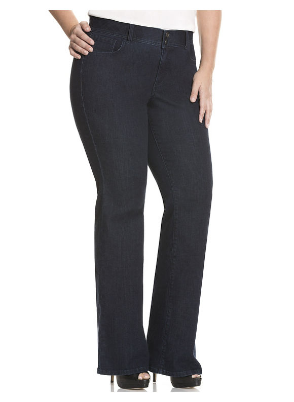 Lane Bryant Plus Size Flare leg jean with Tighter Tummy Technology - - Women's Size 18, Dark Wash