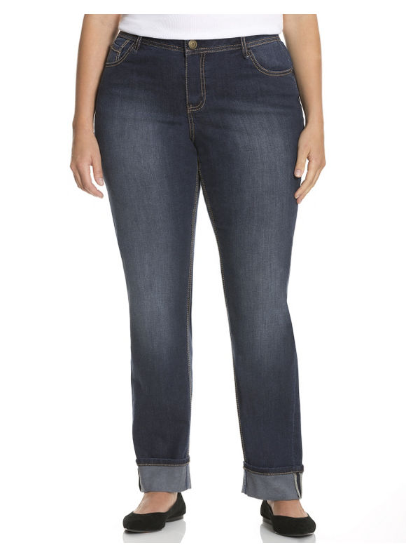 Lane Bryant Plus Size Cuffed straight leg jean Size 14, blue