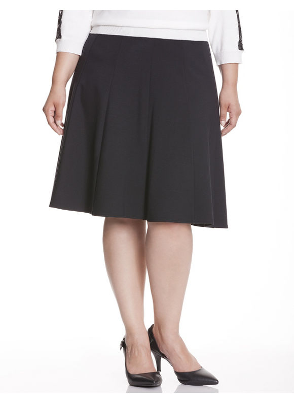Lane Bryant Plus Size Ponte flippy skirt, black