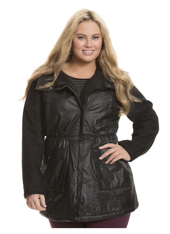Lane Bryant Plus Size Coated anorak jacket Size 22/24, black