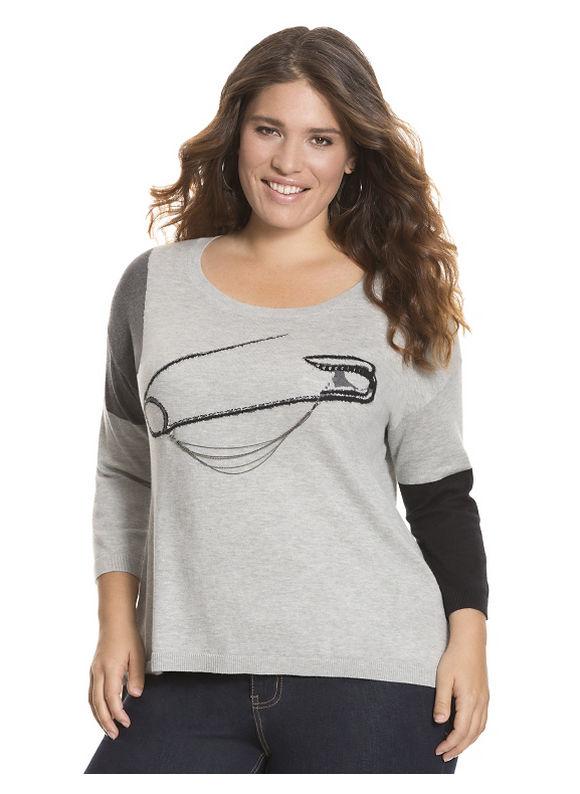 Lane Bryant Plus Size Embellished safety pin sweater - - Women's Size 14/16,18/20,22/24,26/28, Black