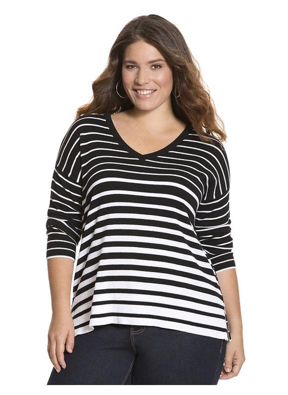 Lane Bryant Plus Size Striped side zip sweater Size 18/20, black