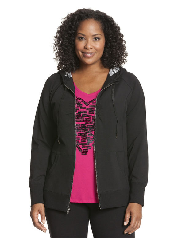 Lane Bryant Plus Size Ruched zip-up hoodie - Black