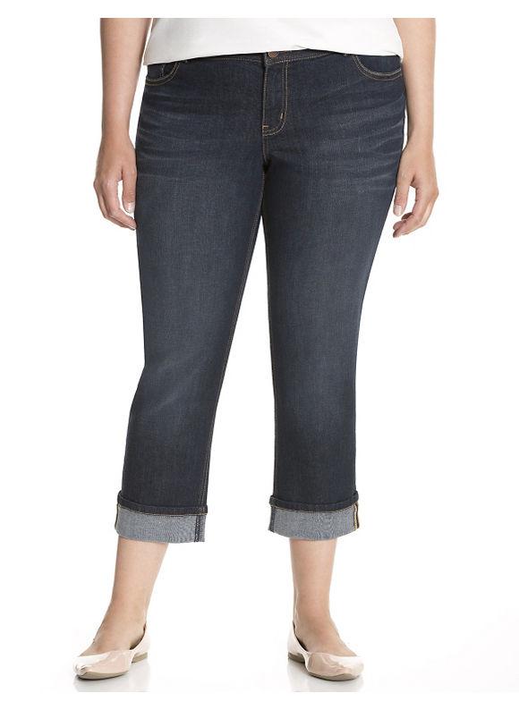 "Plus Size Genius Fit cuffed 23"" capri - Dark Wash pants by Lane Bryant"