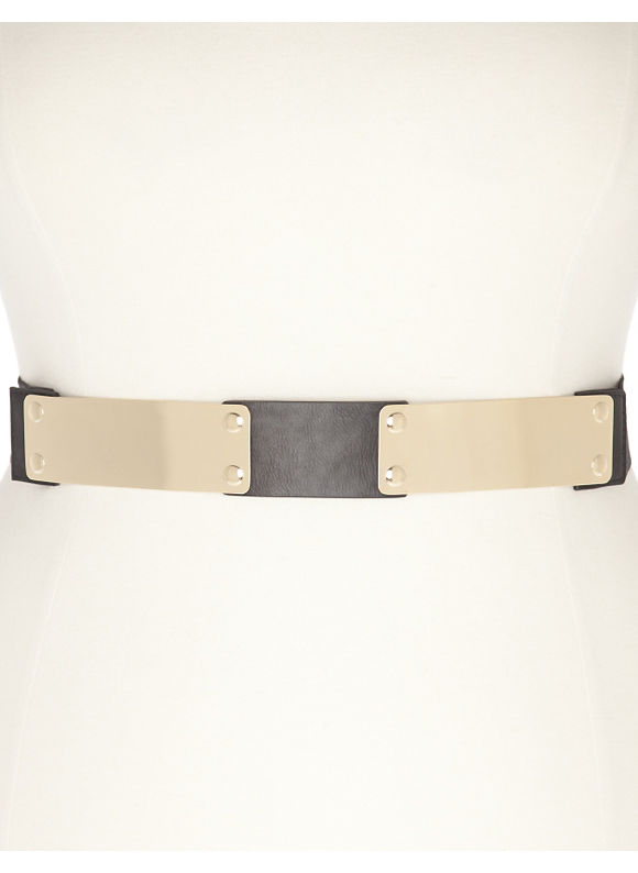 Lane Bryant Plus Size Metal stretch belt -  Black