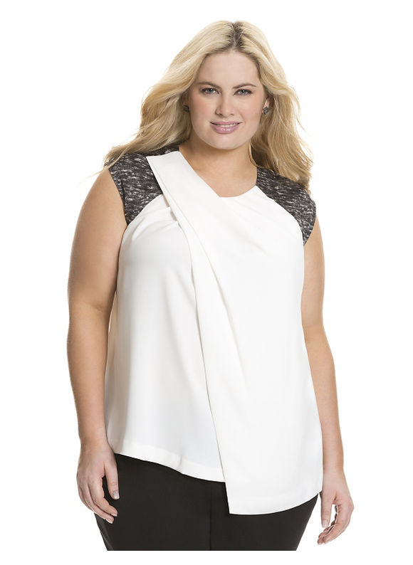 Lane Bryant Plus Size Draped front satin top by Dknyc Size 2X, white - Lane Bryant ~ Trendy Plus Size Clothes