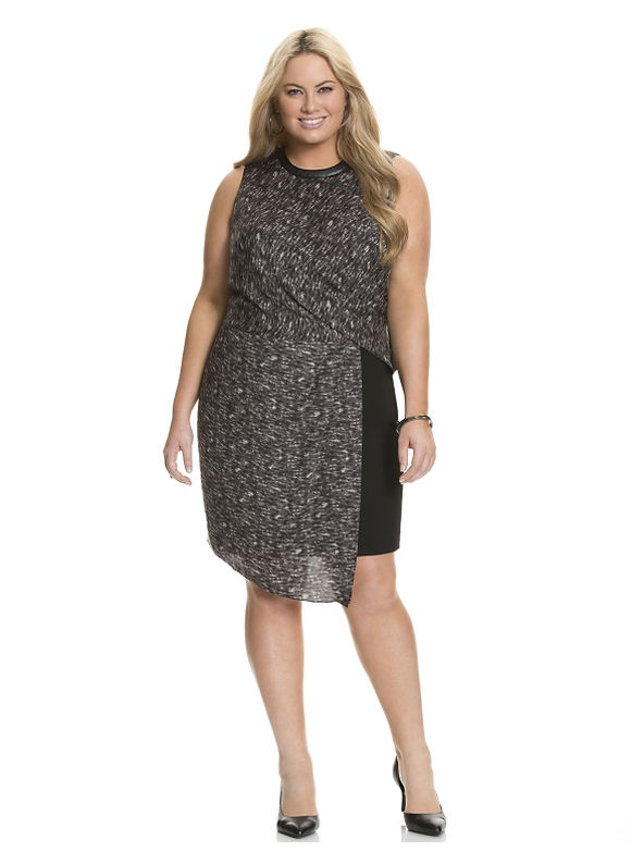Plus Size Printed faux wrap dress by Dknyc Lane Bryant Women's Size 14, black - Lane Bryant ~ Trendy Plus Size Clothes