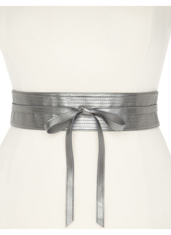Lane Bryant Plus Size Reversible obi wrap belt - - Silver