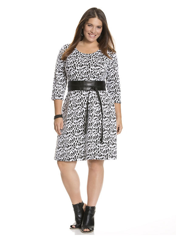 Lane Bryant Plus Size Leopard A-line dress - - Women's Size 26/28, White