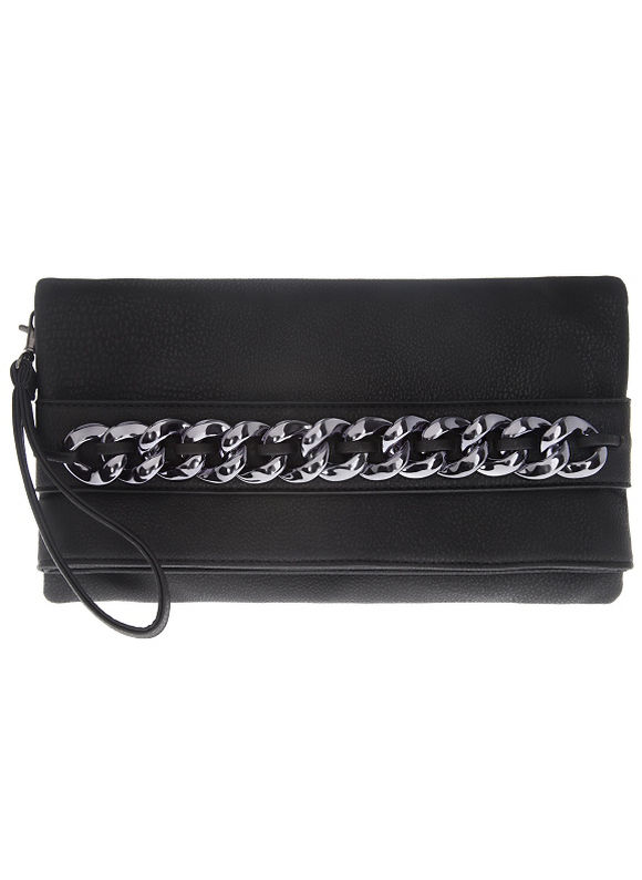 Plus Size Chain accent convertible handbag by - Size One Size, Black Party Perfect by Lane Bryant