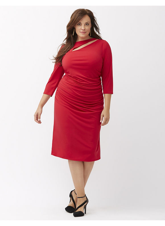 Lane Bryant Plus Size Control Tech slimming cut-out dress, Women's, Size: 14,16,18,20,22,24,26,28, Black, Venetian Red