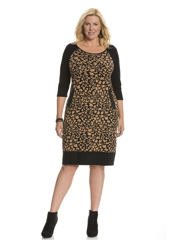 Lane Bryant Plus Size Leopard sweater dress - Black