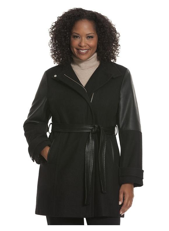 Faux leather & wool coat Plus Size/Black by Lane Bryant