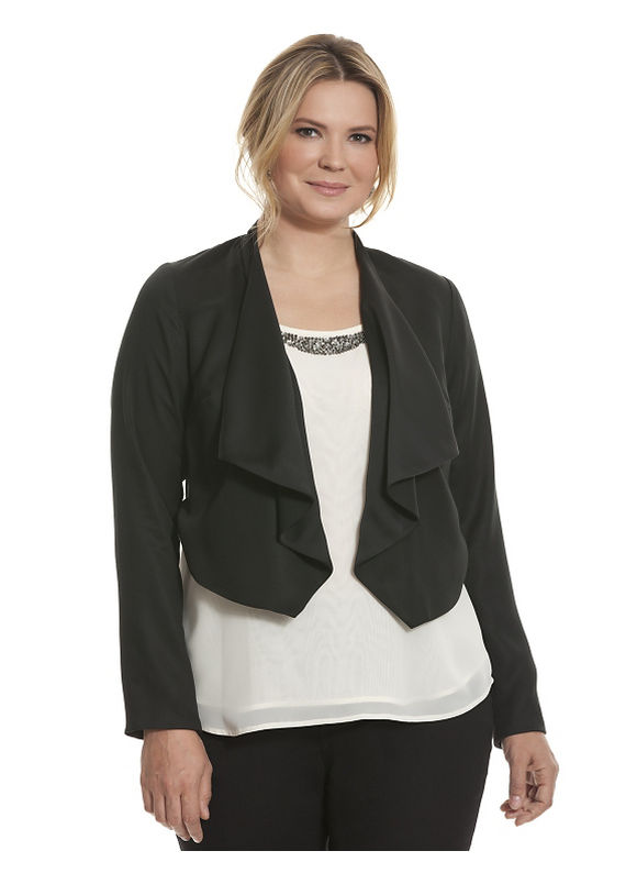 Lane Bryant Plus Size Reversible draped jacket Size 14, black