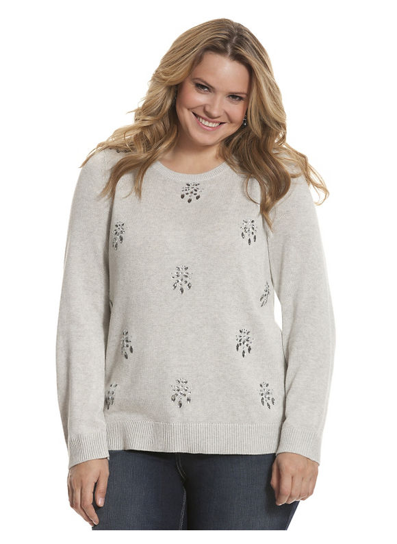 Lane Bryant Plus Size Embellished pullover sweater Size 14/16, gray